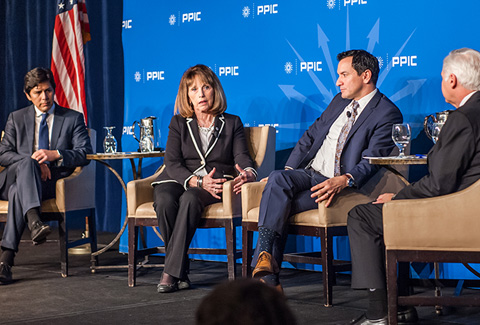 Photo of Senate President pro Tem Kevin De León, Senate Republican Leader Patricia Bates, Assembly Speaker Anthony Rendon, and Mark Baldassare