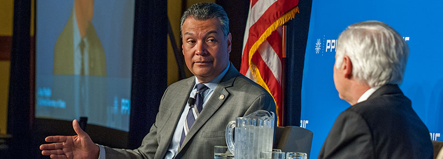 Photo of Alex Padilla, California Secretary of State, and Mark Baldssare