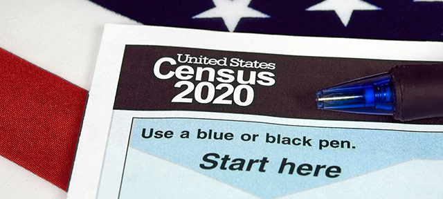 photo - Census 2020 Form and US Flag