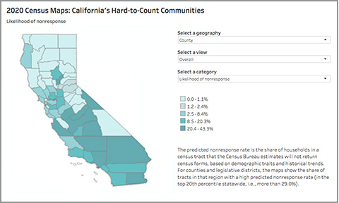 Image of 2020 Census Maps: California's Hard-to-Count Communities