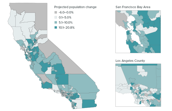 Figure 5: Some parts of California are projected to grow by 10 to 20 percent between 2012 and 2020