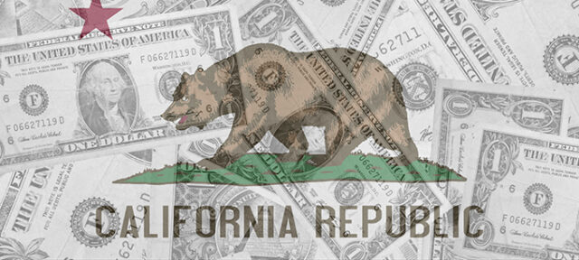 image - California Flag over Dollar Bills