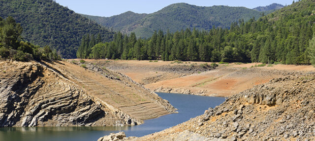 Photo of Shasta Lake in California during drought, low water levels