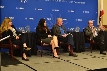 Michelle Selmon, California Department of Water Resources; Maria Herrera,  Self-Help Enterprises; Chuck Ahlem, Hilmar Cheese Company; Karl Longley, Central Valley Regional Water Quality Control Board.