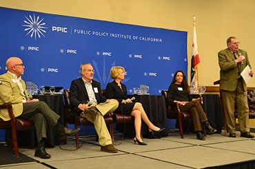 Randy Fiorini, Delta Stewardship Council; Dave Orth, New Current Water and Land, LLC; Ashley Swearengin, Central Valley Community Foundation; Emmy Cattani, Cattani Farms. Sarge Green of California Water Institute at Fresno State moderates.
