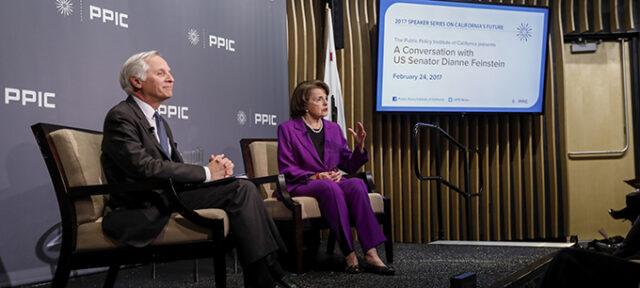 photo - Mark Baldassare and US Senator Dianne Feinstein