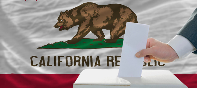 California flag and ballot box