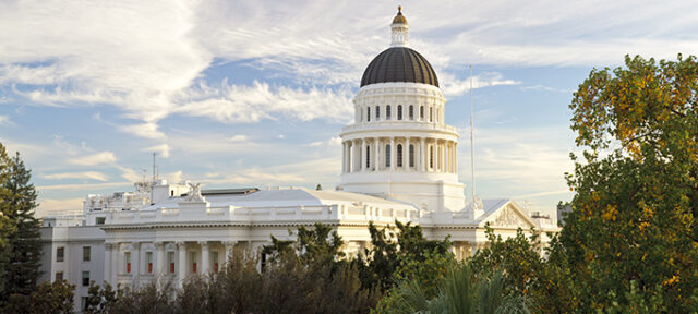 The state capitol building in Sacramento, California, shortly before sunset (stitched from multiple photos).
