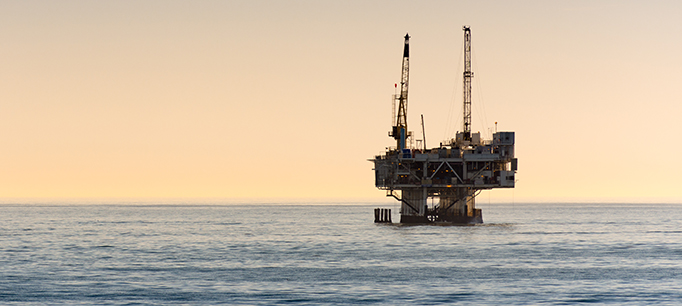 Off Shore Oil Rig Drilling Off Coast Of Southern California
