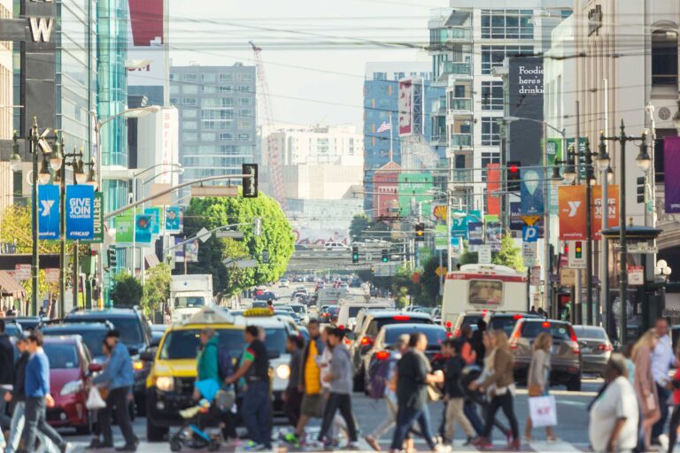 photo - People Crossing 5th Street in San Franciso