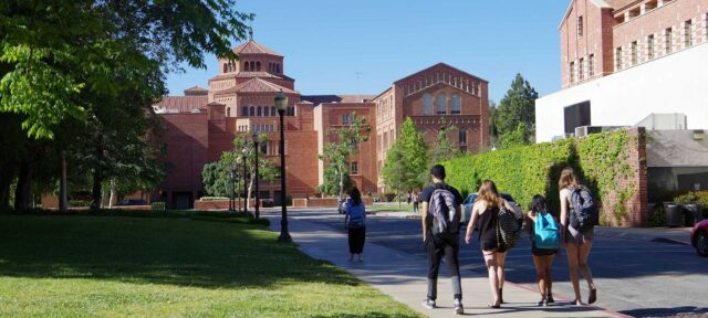 Students walking on UCLA campus
