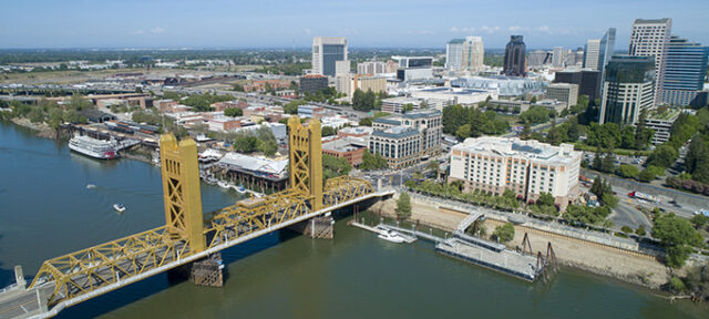 Aerial picture of historic Tower Bridge in Sacramento California