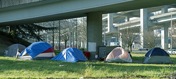 Homeless Encampment Below Freeway In Seattle WA