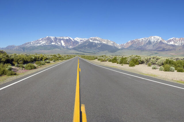 photo - highway and mountains