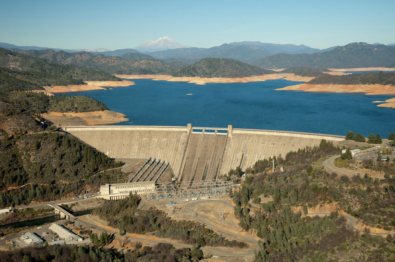 photo - Aerial View of Lake Shasta and Dam with Low Water