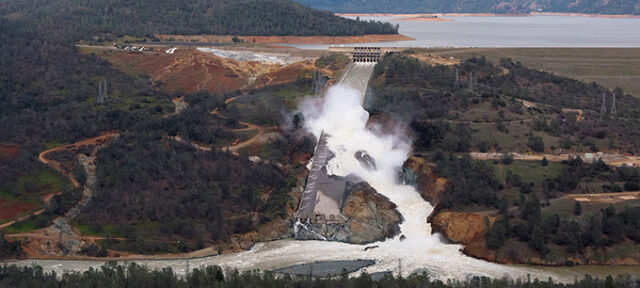 An aerial view of the damaged Oroville Dam spillway on February 26, 2017. The dam is 770 feet tall (highest in U.S.) located in the foothills on the western slope of the Sierra Nevada in Butte County.   Kelly M. Grow/ California Department of Water Resources