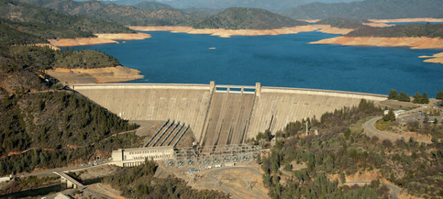 Aerial View Of Lake Shasta & Dam With Low Water. Shot 1/16/14.