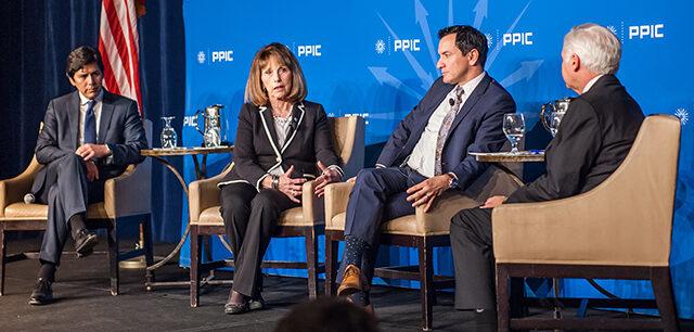 California legislative leaders on stage