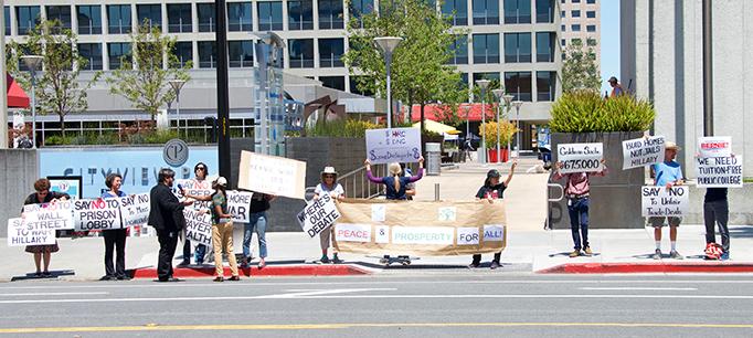 Protestors At Hillary Clinton Political Rally, San Jose, CA, USA