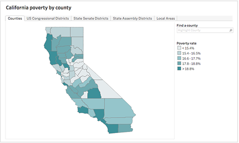 Screen Shot Poverty By County District Interactive