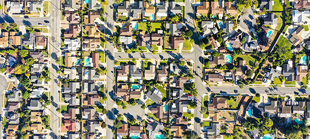 photo - Aerial View of Houses in California Suburb