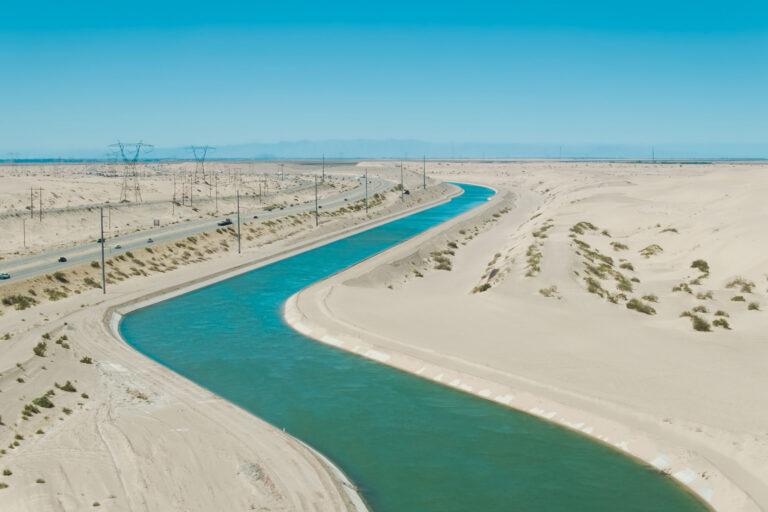 Aqueduct Snaking through Desert in Imperial County, California