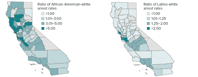figure - Racial disparities in arrests vary substantially across counties