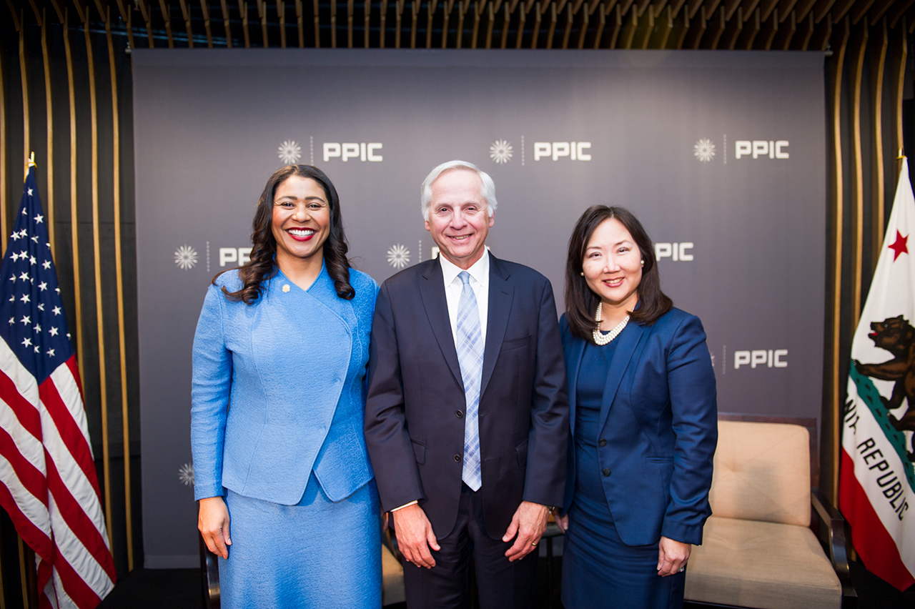 Photo of London Breed, Mark Baldassare, Marisa Chun