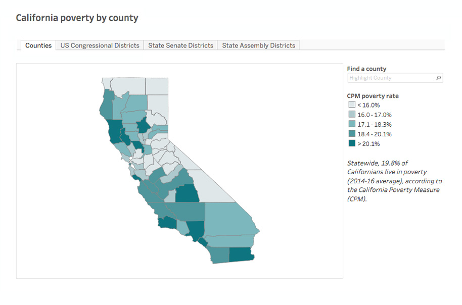 Interactive Map: California Poverty by County Interactive ...