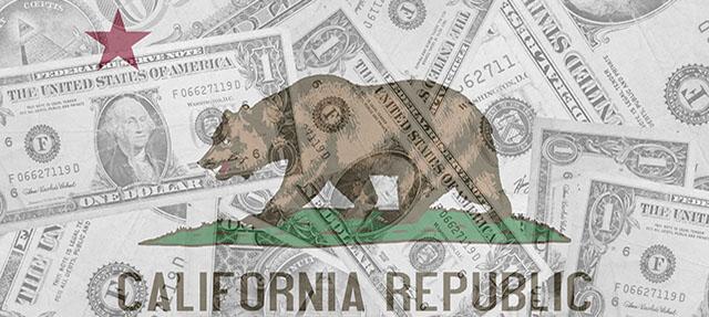 image - California Flag and Dollar Bills
