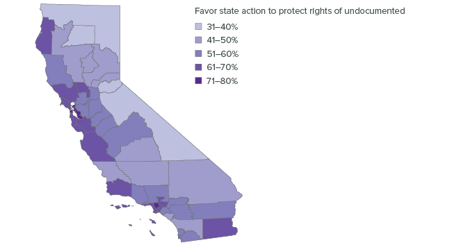 Figure 9. Most places strongly support state policy to protect undocumented immigrants but there are pockets of weakness