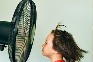 photo - Child in Front of Electric Fan