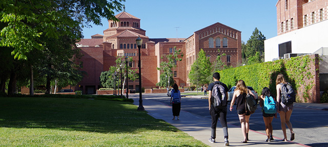 Photo - Students walking on UCLA college campus