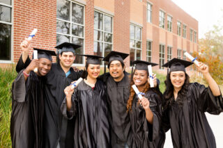 Photo of college graduates celebrating