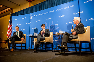 Chad Mayes, assembly Republican leader, Kevin de León, senate president pro tem and Mark Baldassare, PPIC President and CEO