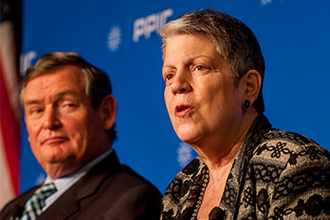 Janet Napolitano, president, University of California and Timothy White, chancellor, California State University