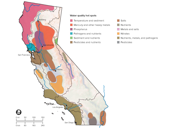 Bodies Of Water In California Map.California S Water Quality Challenges Public Policy Institute Of