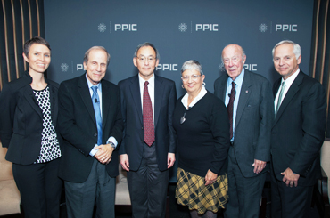 Sonja Petek, Michael Krasny, Steven Chu, Mary Nichols, George Shultz, and Mark Baldassare