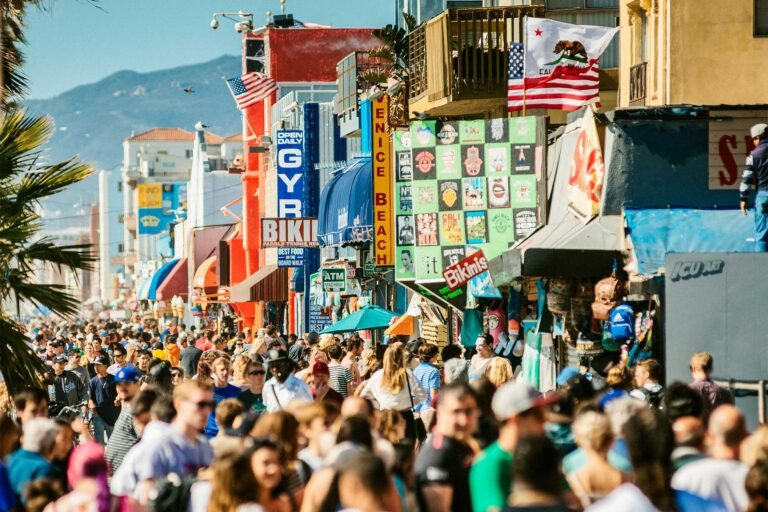 photo - Crowded Venice Beach Boardwalk in LA, California
