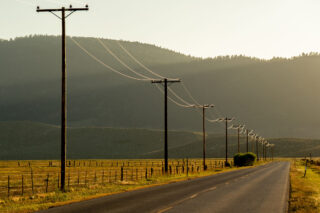 photo - Electric Power Line Along a Rural Highway in Bridgeport, California