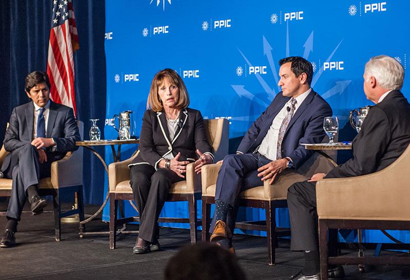 Senator Kevin De León, Senator Patricia Bates, Speaker Anthony Rendon, and PPIC President and CEO Mark Baldassare