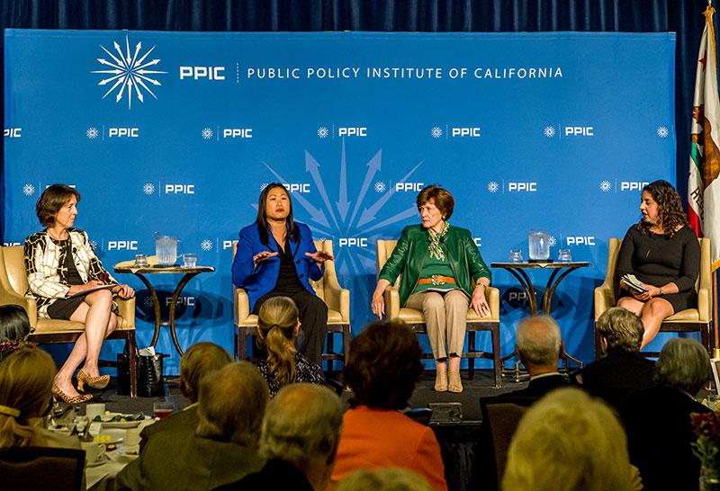 Senator Nancy Skinner, Senator Janet Nguyen, Senator Becky Morgan (1985–1993), and Jennifer Medina