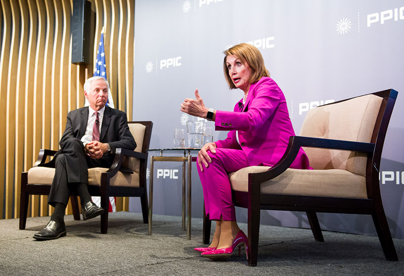 Photo of Mark Baldassare and Nancy Pelosi