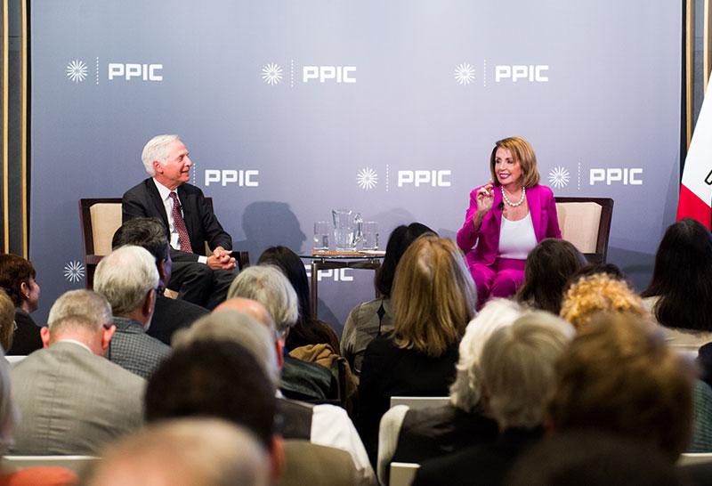 Photo of Mark Baldassare and Nancy Pelosi