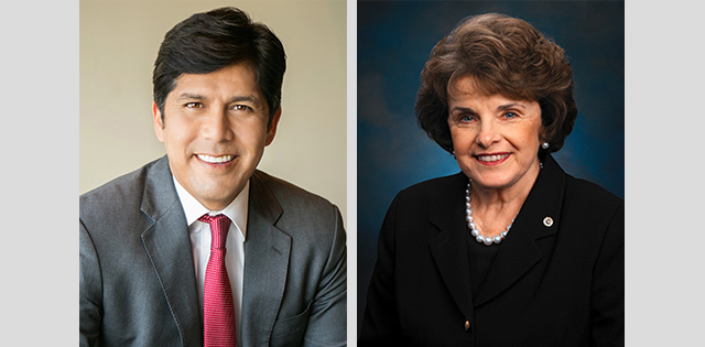 Photo of 2018 US Senate Candidates Kevin de Leon and Dianne Feinstein