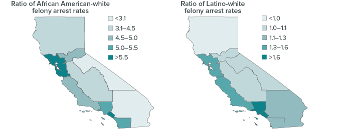 figure - Disparities in Felony Arrest Rates Appear Most Severe in the Most Populous Regions