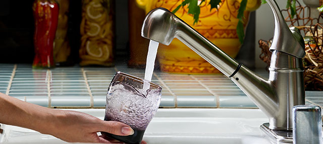 photo - Filling Water Glass at Kitchen Sink, Pixel CA DWR