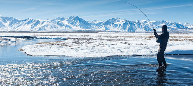 photo - Fisherman on the Owens River in Winter