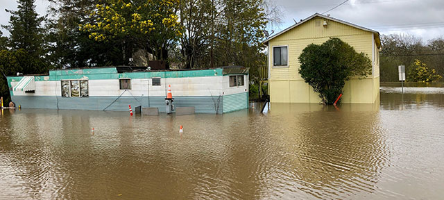 Photo of a mobile home flooded in Sebastopol