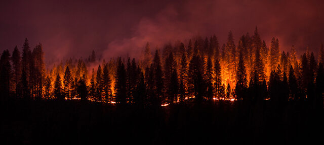 Panorama of the King Fire in Pollock Pines CA that burned over 70,000 acres